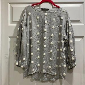 Zara Gray Drop Shoulder Sherpa Dot Blouse XS